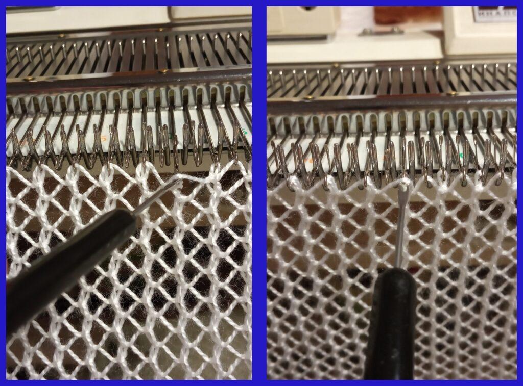 Перенос накидов на соседние петли в четном и нечетном рядах