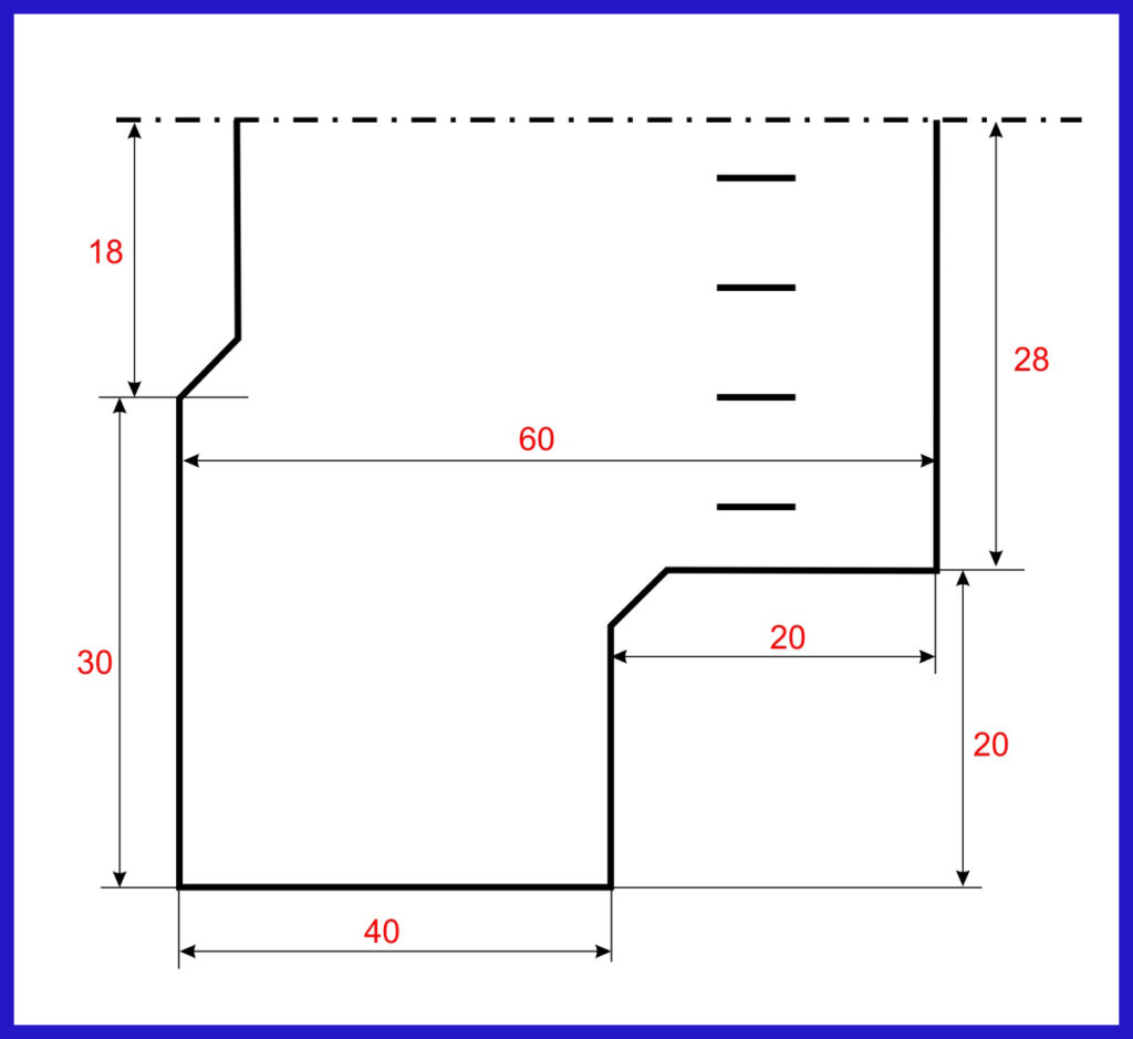 Схема изделия в сантиметрах