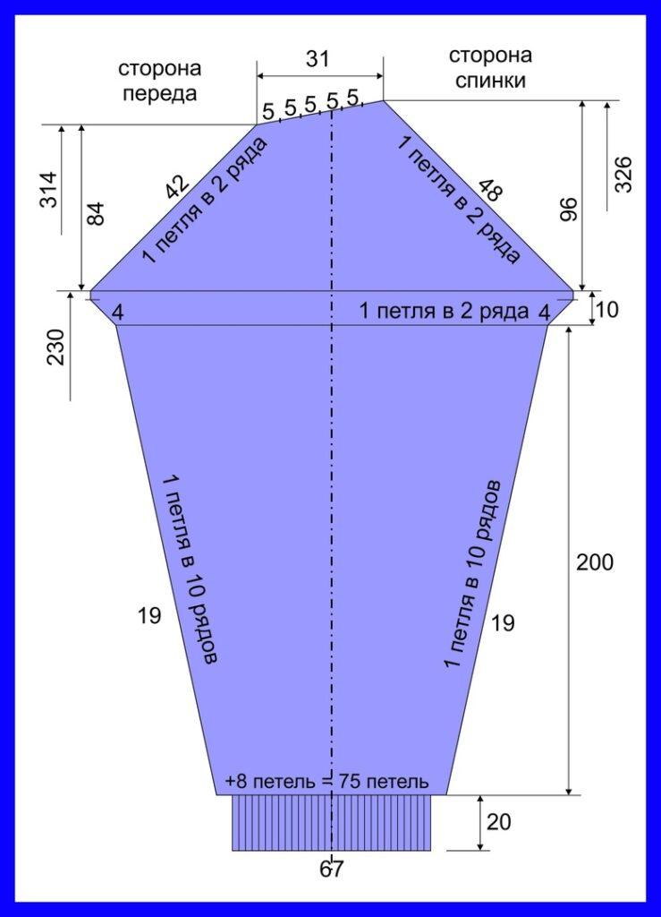 Схема рукава сиреневого джемпера